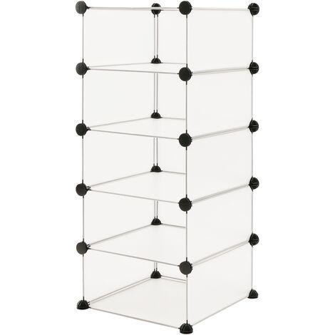 PrimeMatik - Armoire penderie cabinet etagère de 5 cubes de 17x35cm en plastique blanc