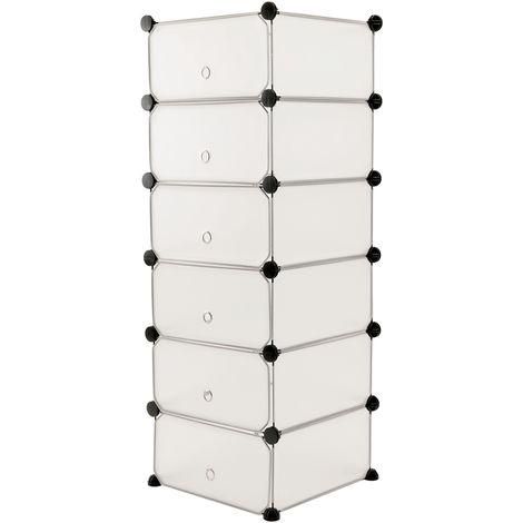 PrimeMatik - Armoire penderie cabinet etagère de 6 cubes de 17x35cm en plastique blanc avec portes