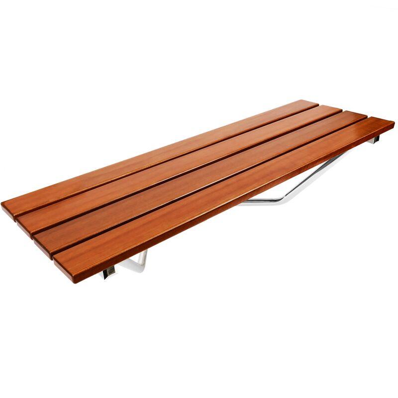 PrimeMatik - Asiento de ducha abatible. Silla plegable para ancianos de madera tropical y aluminio 900x338mm