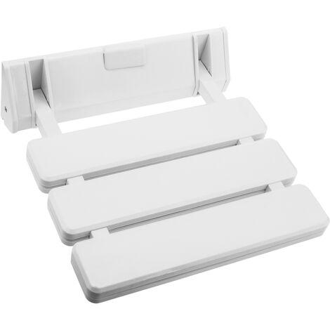 PrimeMatik - Asiento de ducha abatible. Silla plegable para ancianos de plástico y aluminio blanco 320x328mm