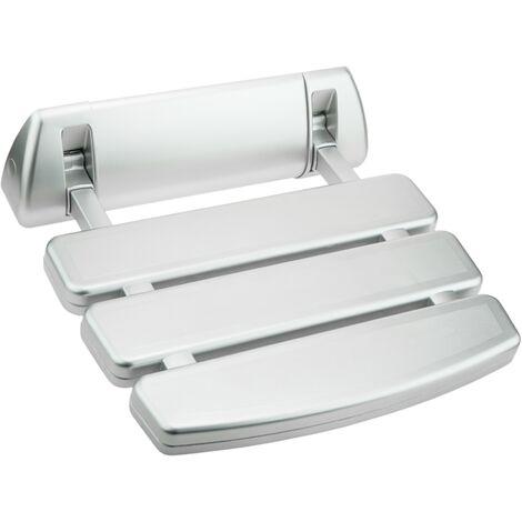 """main image of """"PrimeMatik - Asiento de ducha abatible. Silla plegable para ancianos de plástico y aluminio plateado 350x348mm"""""""