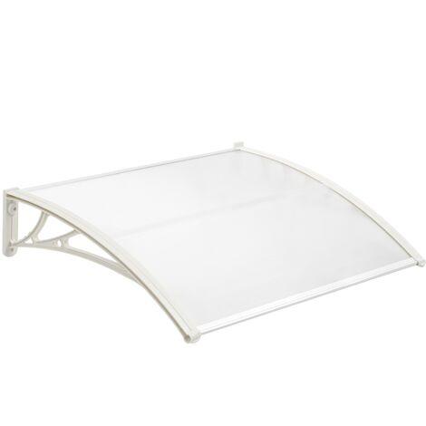PrimeMatik - Auvent de porte et fenêtres 100x60 cm transparent. Marquise solaire abri banne entrée protection avec support blanc