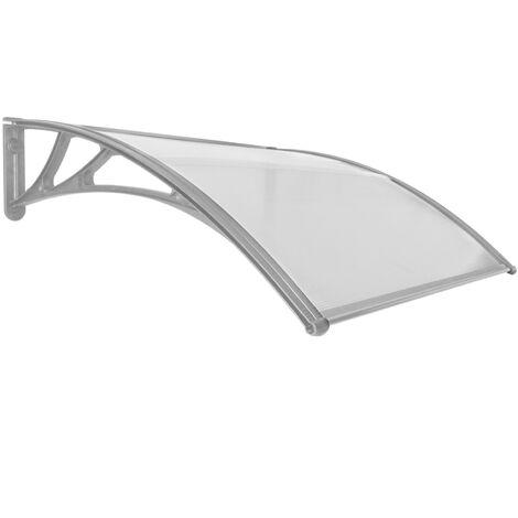 PrimeMatik - Auvent de porte et fenêtres 120x100cm Marquise solaire abri banne entrée protection gris