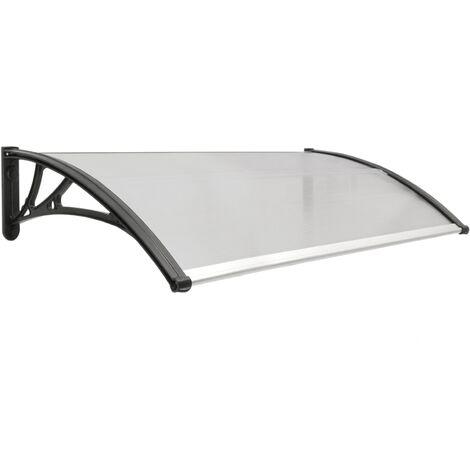 PrimeMatik - Auvent de porte et fenêtres 120x60 cm gris foncé. Marquise solaire abri banne entrée protection avec support noir