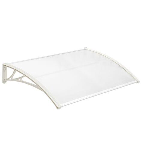 PrimeMatik - Auvent de porte et fenêtres 120x60 cm transparent. Marquise solaire abri banne entrée protection avec support blanc