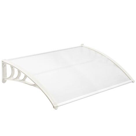 PrimeMatik - Auvent de porte et fenêtres 120x80 cm transparent. Marquise solaire abri banne entrée protection avec support blanc