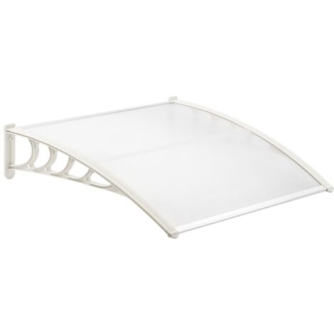 PrimeMatik - Auvent de porte et fenêtres 150x90 cm transparent. Marquise solaire abri banne entrée protection avec support blanc
