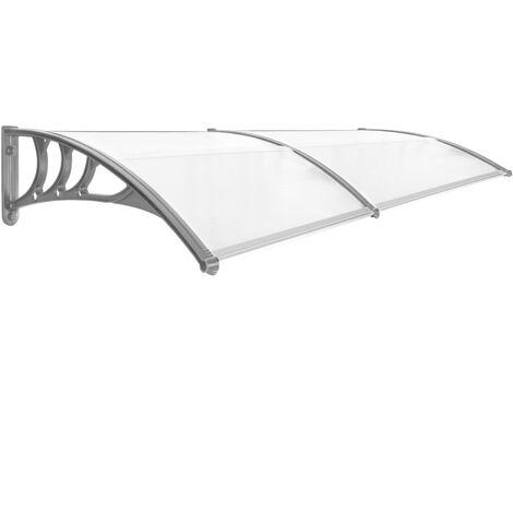 PrimeMatik - Auvent de porte et fenêtres 200x80cm Marquise solaire abri banne entrée protection gris