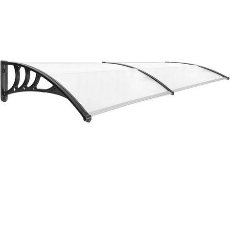PrimeMatik - Auvent de porte et fenêtres 240x80cm Marquise solaire abri banne entrée protection noir