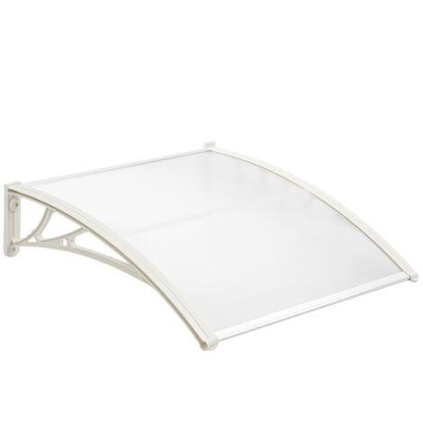 PrimeMatik - Auvent de porte et fenêtres 80x60 cm transparent. Marquise solaire abri banne entrée protection avec support blanc