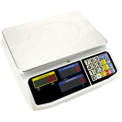 PrimeMatik - Balanza mostrador de sobremesa con bandeja de 300x205 mm Báscula de tienda de 15 Kg