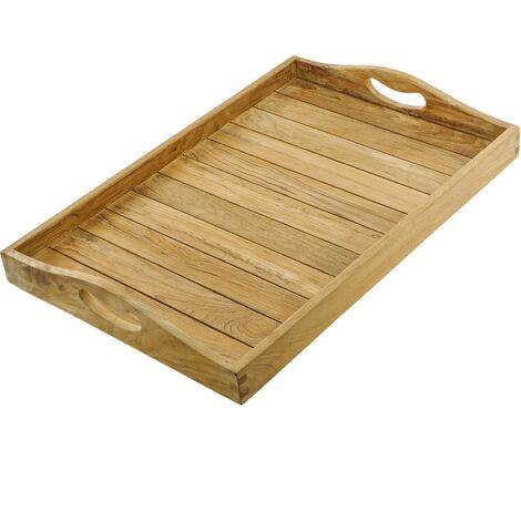 PrimeMatik - Bandeja de baño con asas 60 x 40 x 5 cm spa wellness de madera de teca certificada