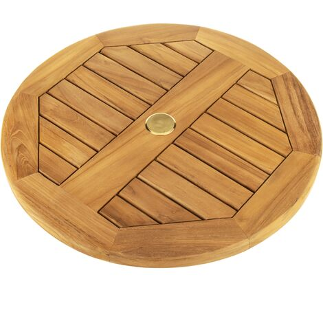 PrimeMatik - Base giratoria 60 cm para mesa jardín exterior. Plataforma rotatoria de madera de teca certificada