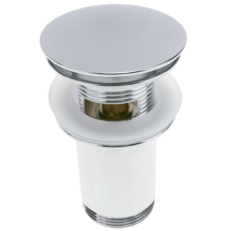 PrimeMatik - Basin sink waste tap plug 9cm. Slotted bathroom push pop up sprung universal G1-1/4 chrome rounded