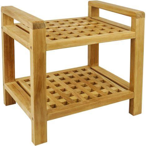 PrimeMatik - Bathroom stool with armrests and shelf 50 x 50 x 33 cm certified teak wood