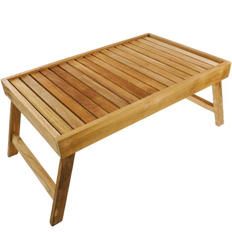 PrimeMatik - Bed tray 55 x 35 x 4.8 cm folding certified teak wood