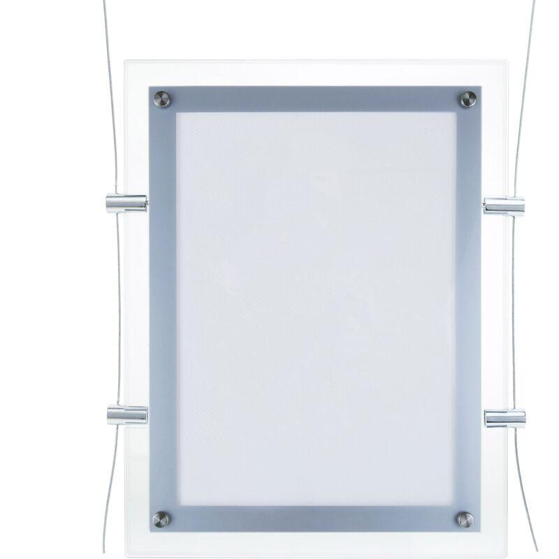 Bilderrahmen mit LED Beleuchtung Acryl A4 313x365mm doppelseitig für Anzeige und Zeichen - Primematik