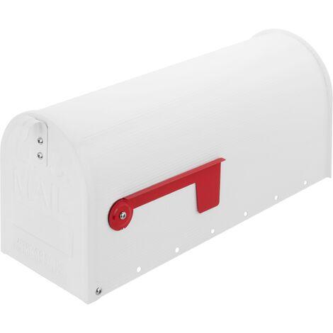 PrimeMatik - Boîte aux lettres US Mail en aluminium pour courrier postal américain blanche