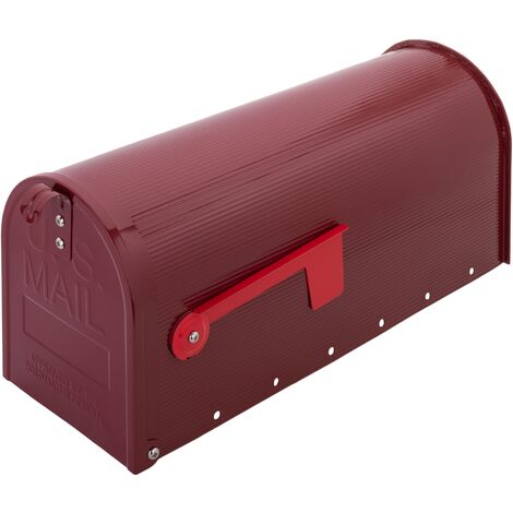 PrimeMatik - Boîte aux lettres US Mail en aluminium pour courrier postal américain rouge