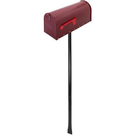 PrimeMatik - Boîte aux lettres US Mail en aluminium pour courrier postal américain rouge avec support