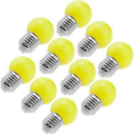 PrimeMatik - Bombilla LED G45 E27 230VAC 1,5W luz amarilla 10 unidades