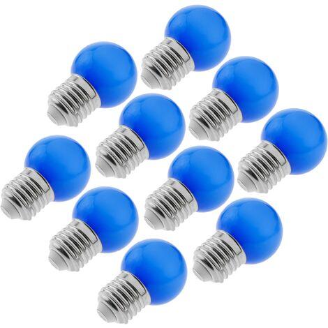 PrimeMatik - Bombilla LED G45 E27 230VAC 1,5W luz azul 10 unidades