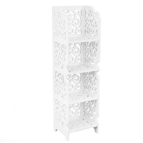 PrimeMatik - Bookshelf Storage Display Stand 4-tier Wood-plastic shelf with 4 shelves white 24x20x85cm