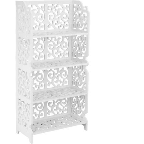 PrimeMatik - Bookshelf Storage Display Stand 4-tier Wood-plastic shelf with 4 shelves white 42x20x85cm