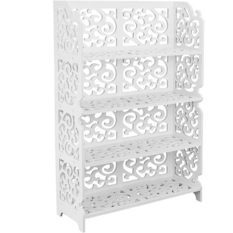 PrimeMatik - Bookshelf Storage Display Stand 4-tier Wood-plastic shelf with 4 shelves white 59x20x85cm