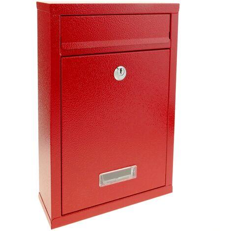 PrimeMatik - Briefkasten Postkasten metallische rot Farbe für wallmount 215 x 80 x 315 mm