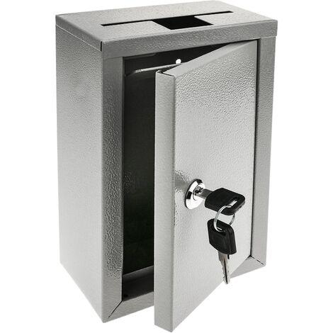 PrimeMatik - Buzón de devolución de llaves. Urna de donativos gris. Caja de pared 140 x 76 x 232 mm