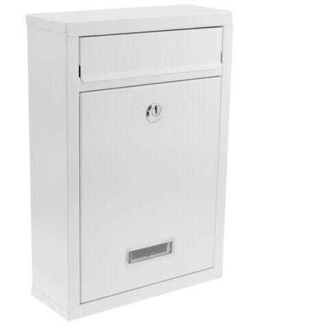 PrimeMatik - Buzón metálico para cartas y correo postal de color blanco 215 x 82 x 315 mm