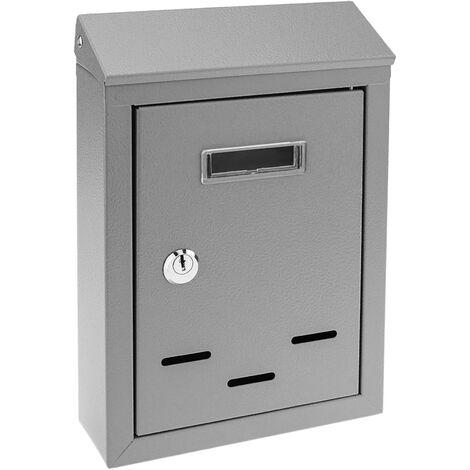 PrimeMatik - Buzón metálico para cartas y correo postal de color gris 178 x 57 x 259 mm