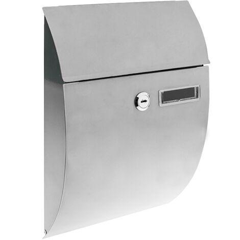 PrimeMatik - Buzón metálico para cartas y correo postal de color gris 212 x 71 x 306 mm