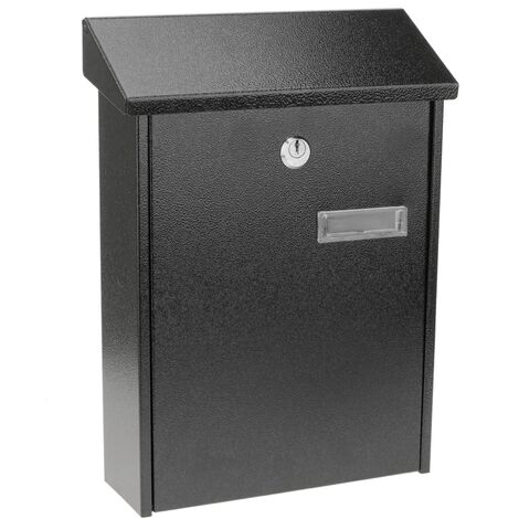 PrimeMatik - Buzón metálico para cartas y correo postal de color negro 235 x 75 x 315 mm