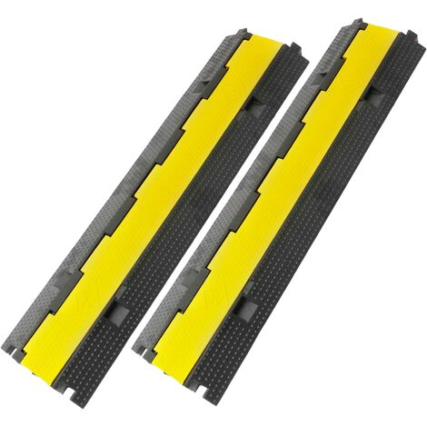 PrimeMatik - Cable floor 2 way 98 cm cover protector trunking rubber bumper 2 pack