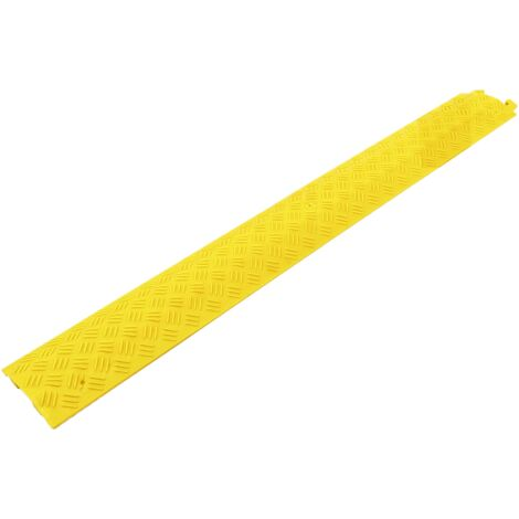 PrimeMatik - Cable floor cover protector trunking bumper 1 way 100x13 cm yellow rigid