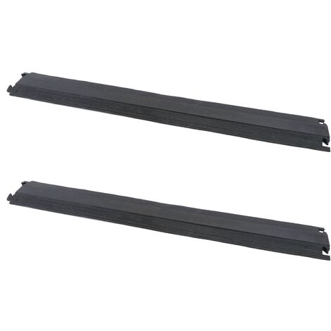 PrimeMatik - Cable floor cover protector trunking rubber bumper 1 way 102 x 13 cm (2-PACK)