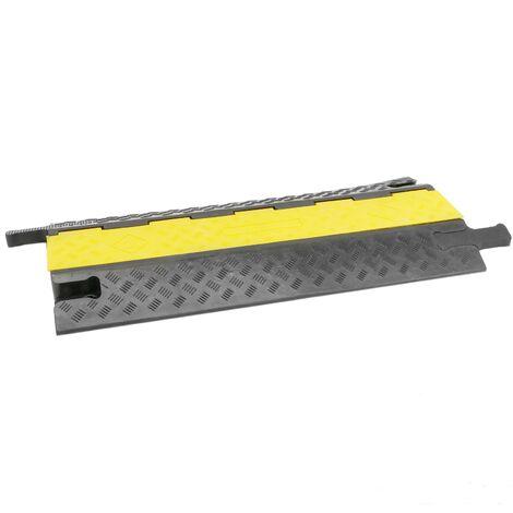 PrimeMatik - Cable floor cover protector trunking rubber bumper 2 way 98x44cm black