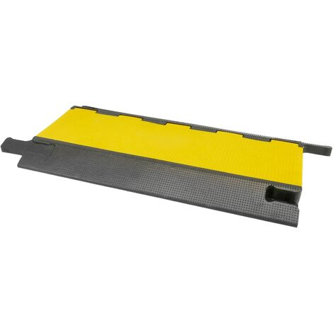 PrimeMatik - Cable floor cover protector trunking rubber bumper 4 way 90x50cm