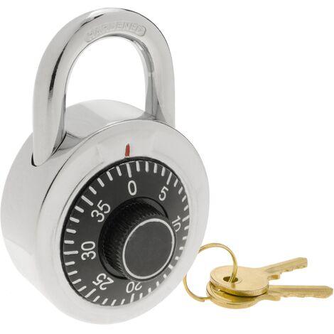 PrimeMatik - Cadenas de sécurité en acier et combinaison rotative avec clé 50mm