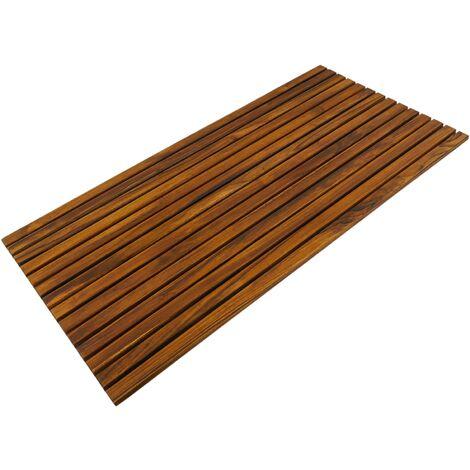 PrimeMatik - Caillebotis de douche en bois de teck certifié 100 x 50 cm rectangulaire