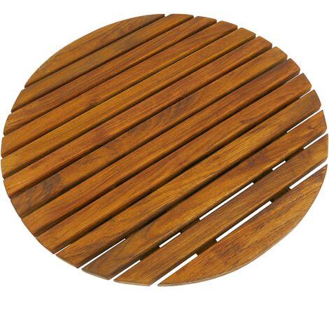 PrimeMatik - Caillebotis de douche en bois de teck certifié 50 cm rond