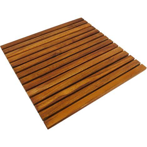 PrimeMatik - Caillebotis de douche en bois de teck certifié 50 x 50 cm carré