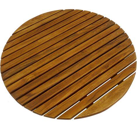 PrimeMatik - Caillebotis de douche en bois de teck certifié 60 cm rond