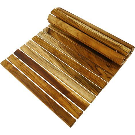 PrimeMatik - Caillebotis de douche en bois de teck certifié 60 x 40 cm rectangulaire et à rouler