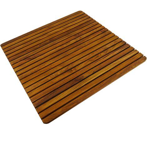 PrimeMatik - Caillebotis de douche en bois de teck certifié 71 x 71 cm carré