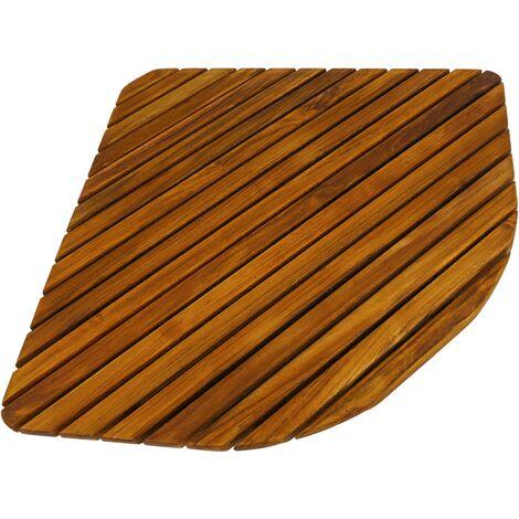 PrimeMatik - Caillebotis de douche en bois de teck certifié 76 x 76 cm carré