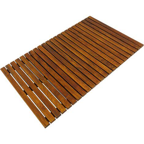 PrimeMatik - Caillebotis de douche en bois de teck certifié 80 x 50 cm rectangulaire