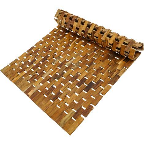 PrimeMatik - Caillebotis et tapis de douche en bois de teck certifié 75 x 50 cm à rouler